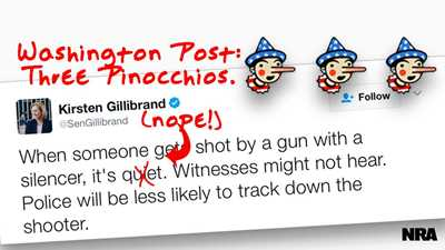 The Washington Post Gives Gun Control Group and U.S. Senator Three Pinocchios on Suppressors